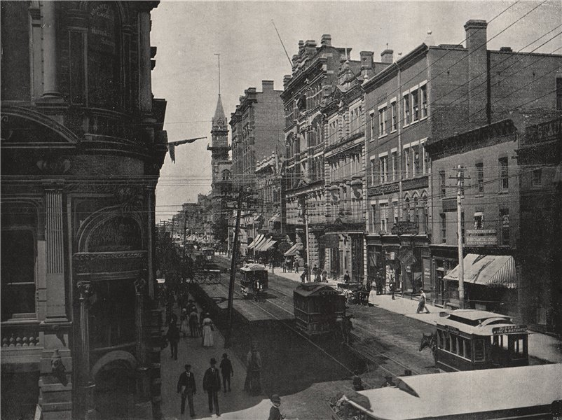 Associate Product TORONTO. King Street, looking west. Ontario 1895 old antique print picture