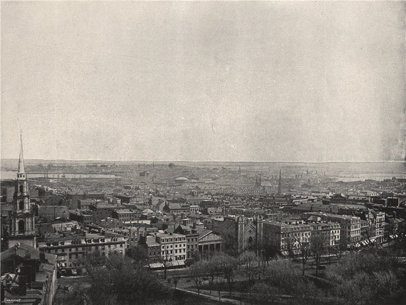 Associate Product BOSTON. Panorama of the city. Massachusetts 1895 old antique print picture