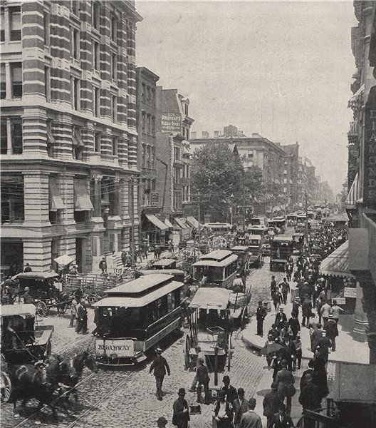 Associate Product NEW YORK. Broadway, near the post office. New York 1895 old antique print
