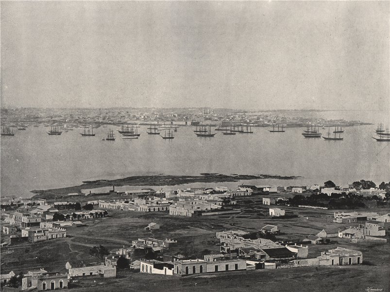 Associate Product MONTEVIDEO. Panorama from the hill. Uruguay 1895 old antique print picture