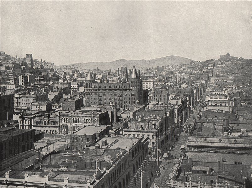 Associate Product SAN FRANCISCO. Bird's-eye view from the Chronicle Building. California 1895