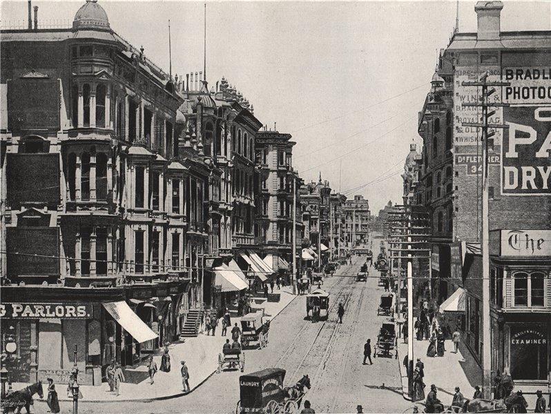 Associate Product SAN FRANCISCO. Great Avenue, looking north from Market Street. California 1895