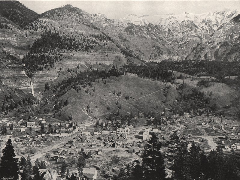 OURAY. General view of the town and the Rockies. Colorado 1895 old print