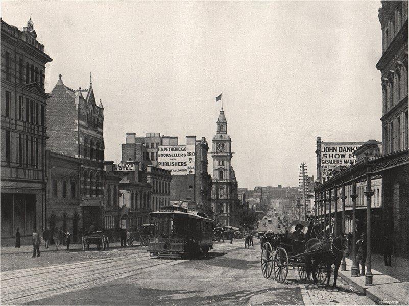 Associate Product MELBOURNE. Bourke Street, looking east. Victoria Australia 1895 old print