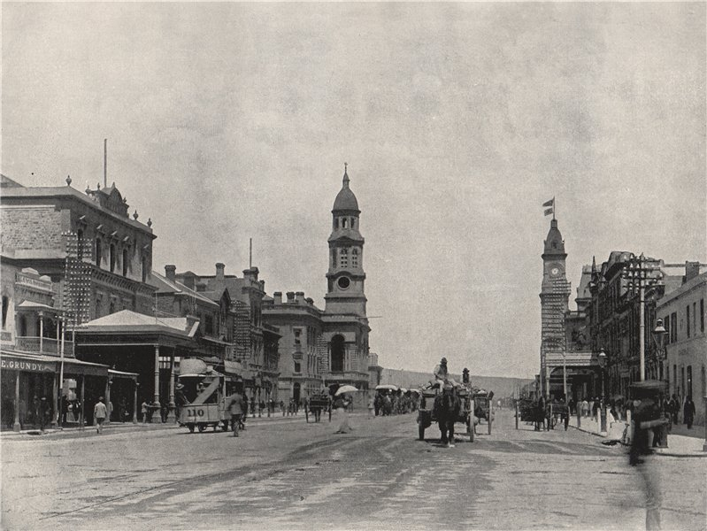 Associate Product ADELAIDE. King William Street, looking south. South Australia 1895 old print