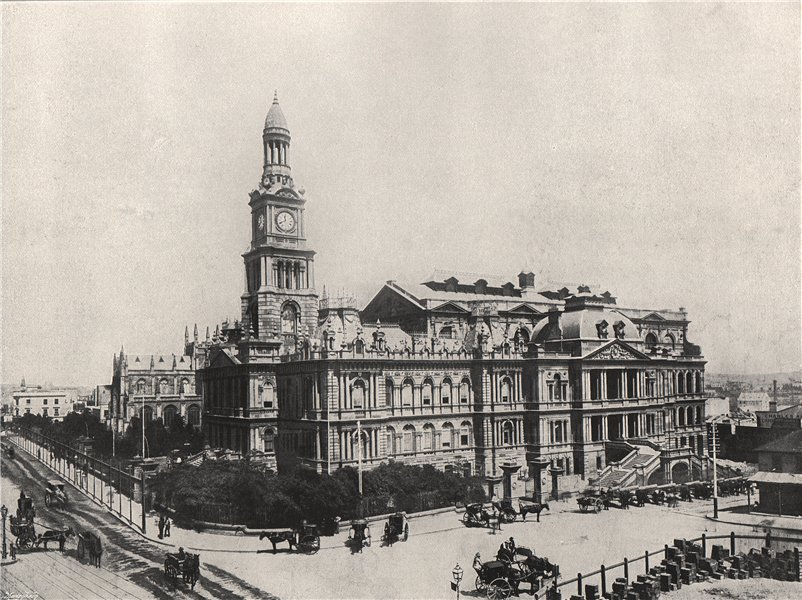 SYDNEY. The new Town Hall. New South Wales 1895 old antique print picture
