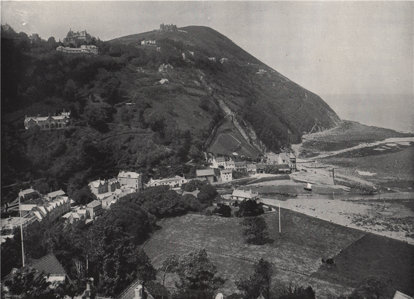 Associate Product LYNMOUTH. The hill, showing Lynton above. Devon 1895 old antique print picture