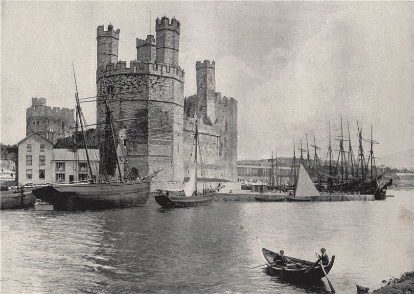 Associate Product CARNARVON. The castle. Wales 1895 old antique vintage print picture