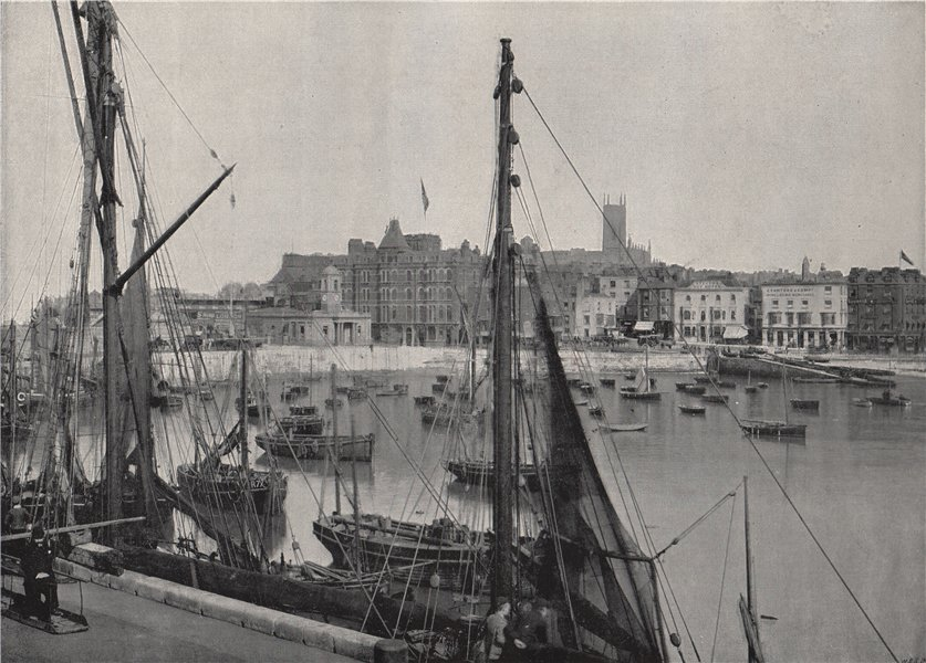 Associate Product MARGATE. The harbour and the jetty. Kent 1895 old antique print picture