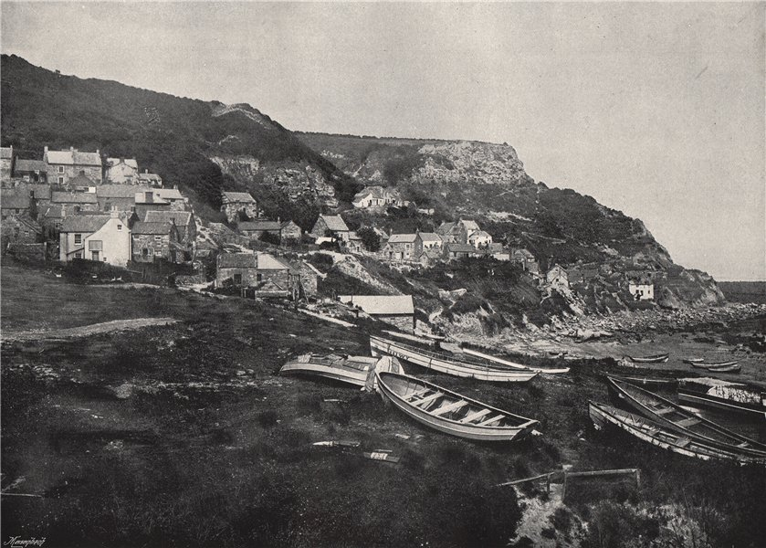 Associate Product RUNSWICK. The village on the cliffs. Yorkshire 1895 old antique print picture
