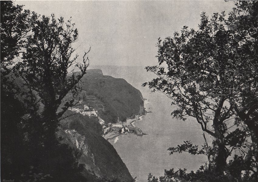 Associate Product CLOVELLY. View from Hobby Drive. Devon 1895 old antique vintage print picture