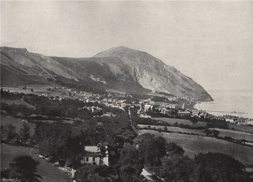 Associate Product PENMAENMAWR. The town, the mountain, and the sea. Wales 1895 old antique print
