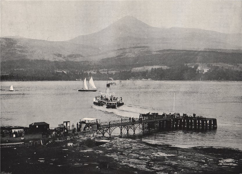 Associate Product ARRAN. Brodick Pier and Goatfell. Scotland 1895 old antique print picture