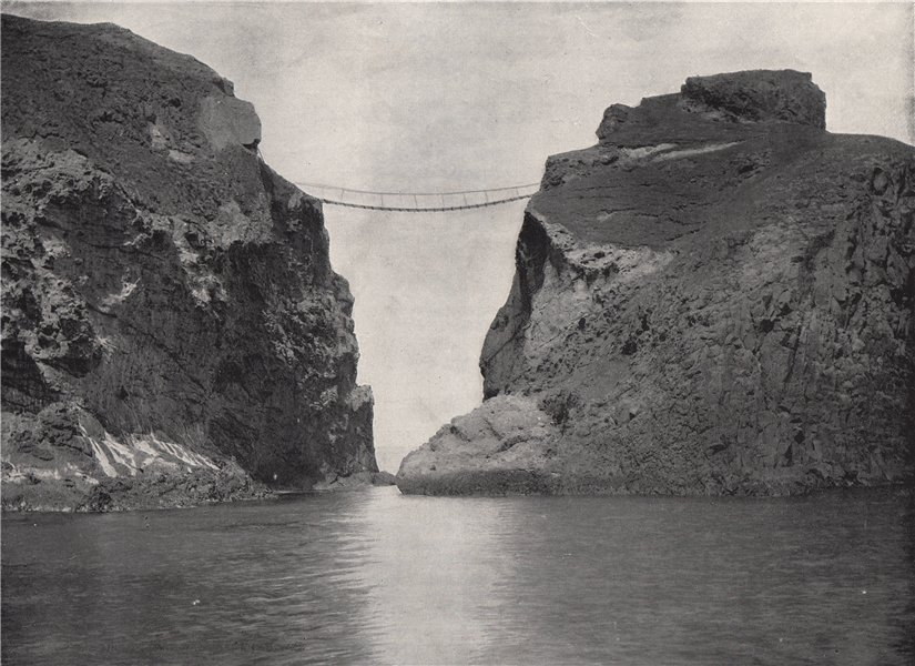 Associate Product CARRICK-A-REDE. The rope bridge across the chasm. Ulster 1895 old print