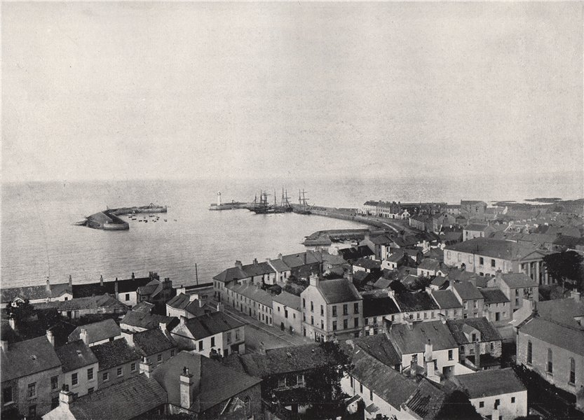 Associate Product DONAGHADEE. View from the Church Tower, showing harbour. Ulster 1895 old print