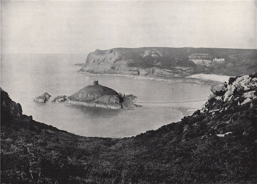 JERSEY. Portelet Bay and Janvrin Island. Channel Islands 1895 old print
