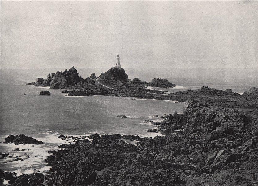 Associate Product JERSEY. La Corbière rock and lighthouse. Channel Islands 1895 old print