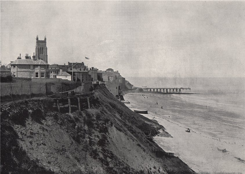 Associate Product CROMER. Showing the church on the cliffs. Norfolk 1895 old antique print