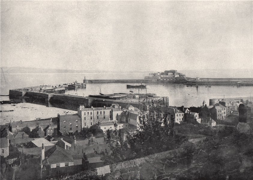Associate Product GUERNSEY. St. Peter-Port and Castle Cornet. Channel Islands 1895 old print