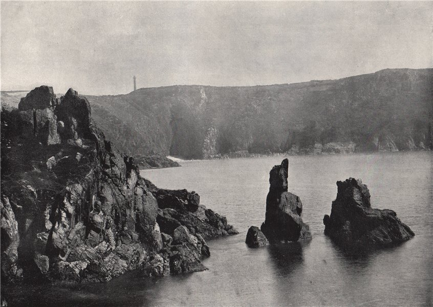 """Associate Product GUERNSEY. Moulin Huet Bay, with the """"Dog and Lion"""" rocks. Channel Islands 1895"""