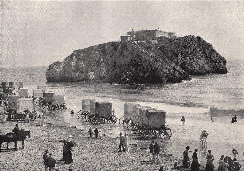 Associate Product TENBY. St. Catherine's Rock and port. Wales 1895 old antique print picture