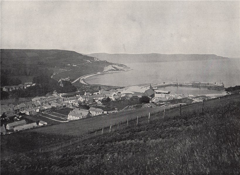 Associate Product GLENARM. The town and the harbour. Ulster 1895 old antique print picture