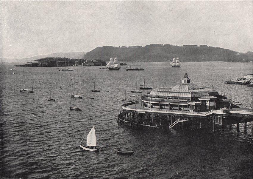 Associate Product PLYMOUTH. The pier. Devon 1895 old antique vintage print picture