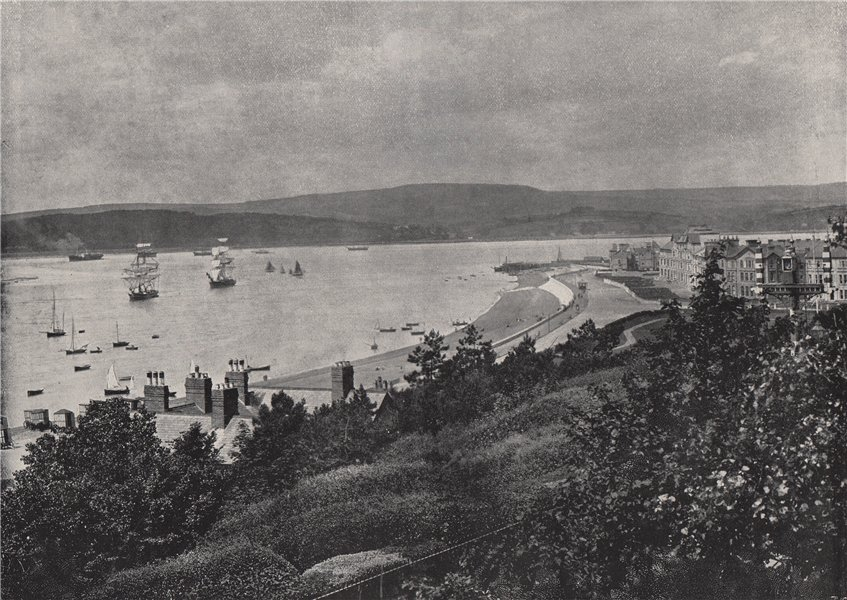 Associate Product EXMOUTH. View showing the beach and the opposite shore. Devon 1895 old print
