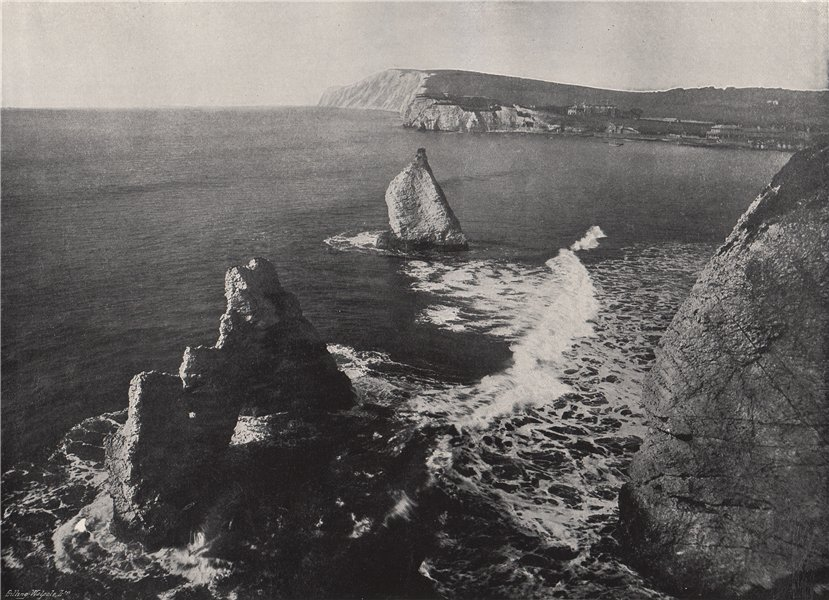 """Associate Product FRESHWATER BAY. Showing """"The Arched Rock"""". Isle of Wight 1895 old print"""