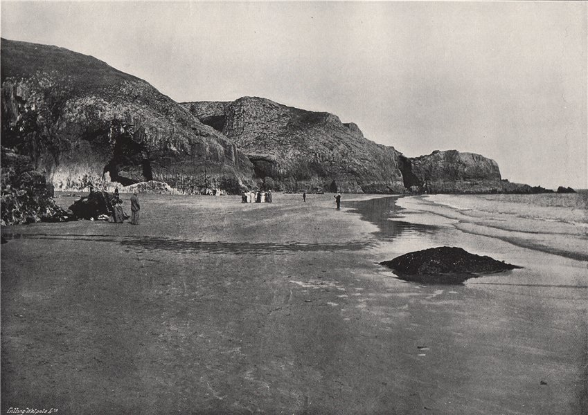 LYDSTEP. The cliffs and the beach. Pembrokeshire 1895 old antique print