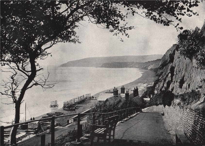 Associate Product SANDOWN. The bathing beach. Isle of Wight 1895 old antique print picture