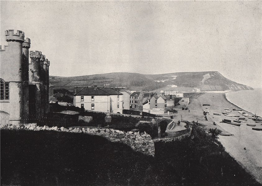 Associate Product SEATON. Looking towards White Cliff. Devon 1895 old antique print picture