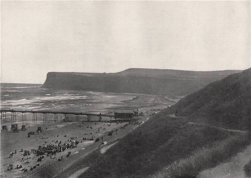 Associate Product SALTBURN. View of the cliffs, beach, and pier. Yorkshire 1895 old print