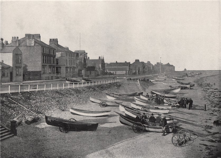 REDCAR. Looking along the esplanade. Yorkshire 1895 old antique print picture