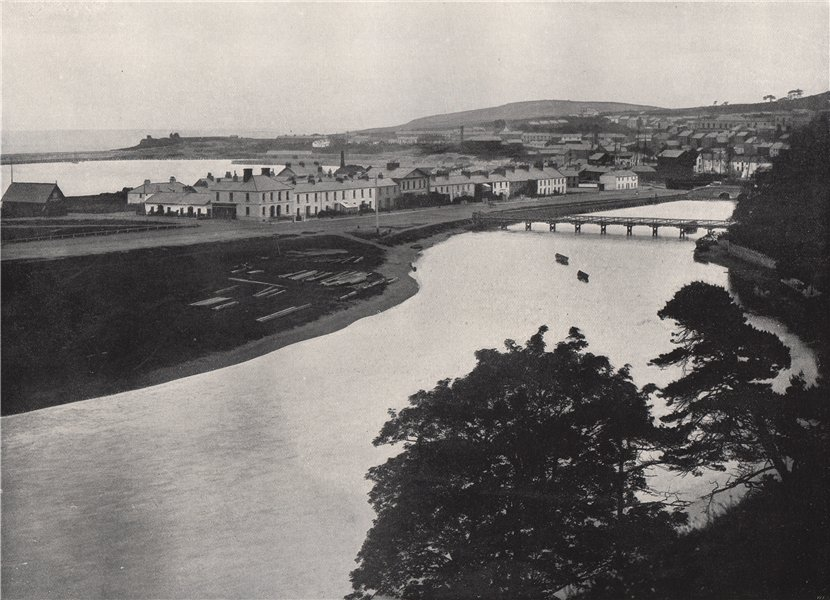 Associate Product WICKLOW. General view of the town and the river. Ireland 1895 old print