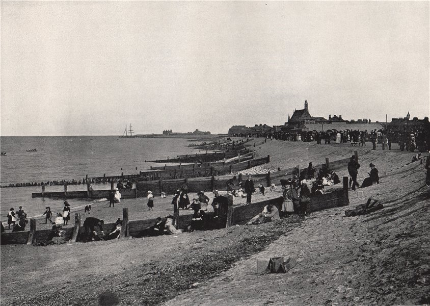 Associate Product SHEERNESS. The promenade and beach. Kent 1895 old antique print picture