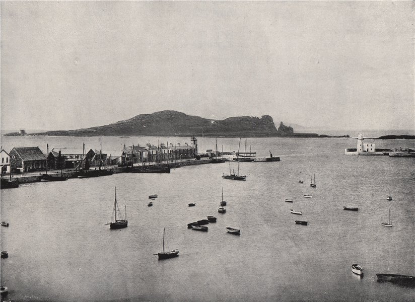 Associate Product HOWTH. General view of the harbour and Ireland's Eye. Ireland 1895 old print