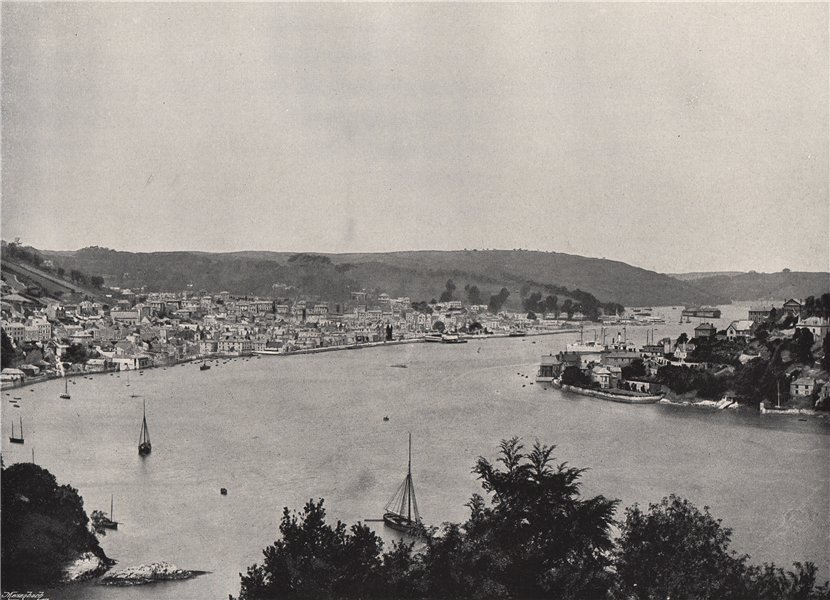 Associate Product DARTMOUTH. View showing the Britannia Floating Naval College. Devon 1895 print