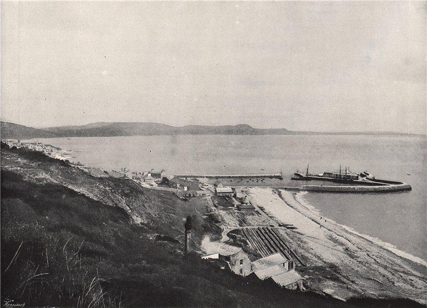 Associate Product LYME REGIS. The harbour. Dorset 1895 old antique vintage print picture