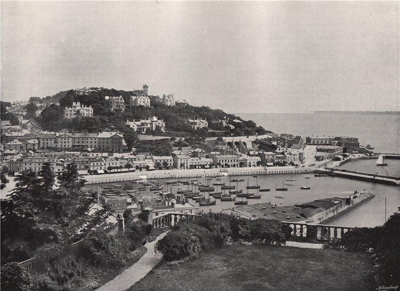 Associate Product TORQUAY. General view from Waldron Hill. Devon 1895 old antique print picture