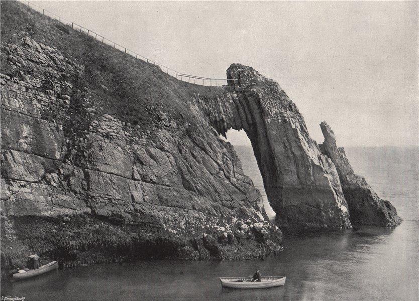 "Associate Product TORQUAY. The natural arch (""London Bridge"") . Devon 1895 old antique print"