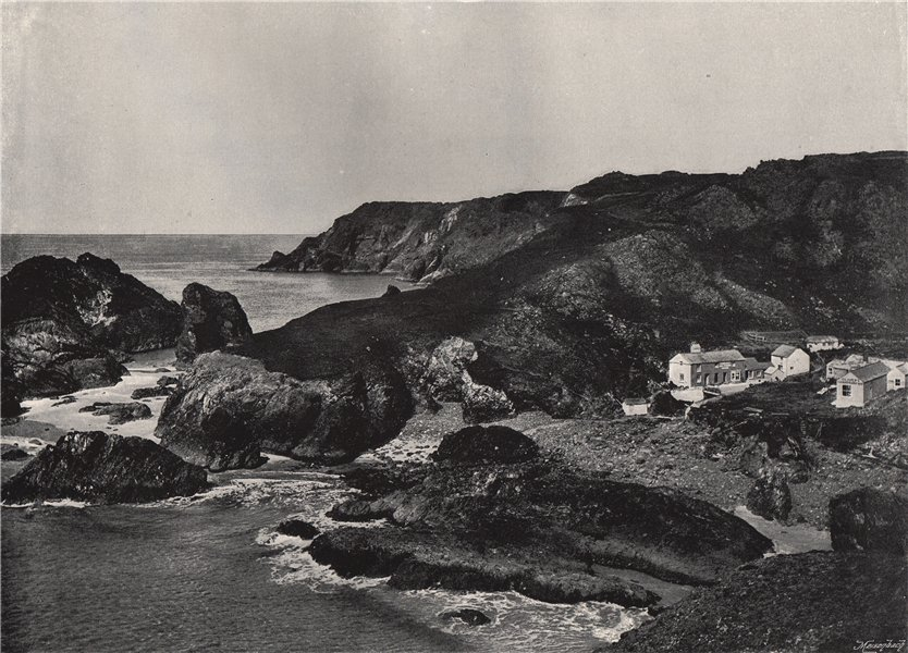 KYNANCE COVE. The cove and village. Cornwall 1895 old antique print picture