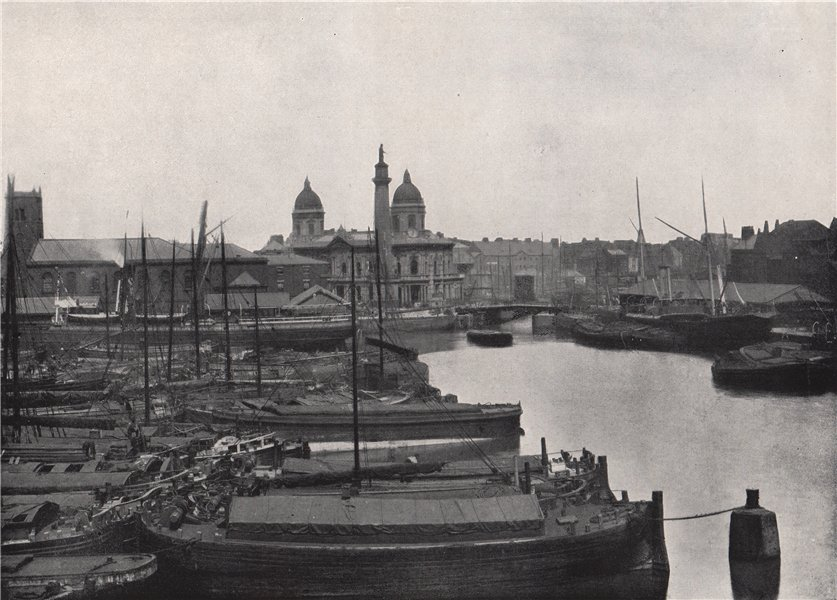 Associate Product HULL. Prince's Dock. Wilberforce memorial & dock offices. Yorkshire 1895 print