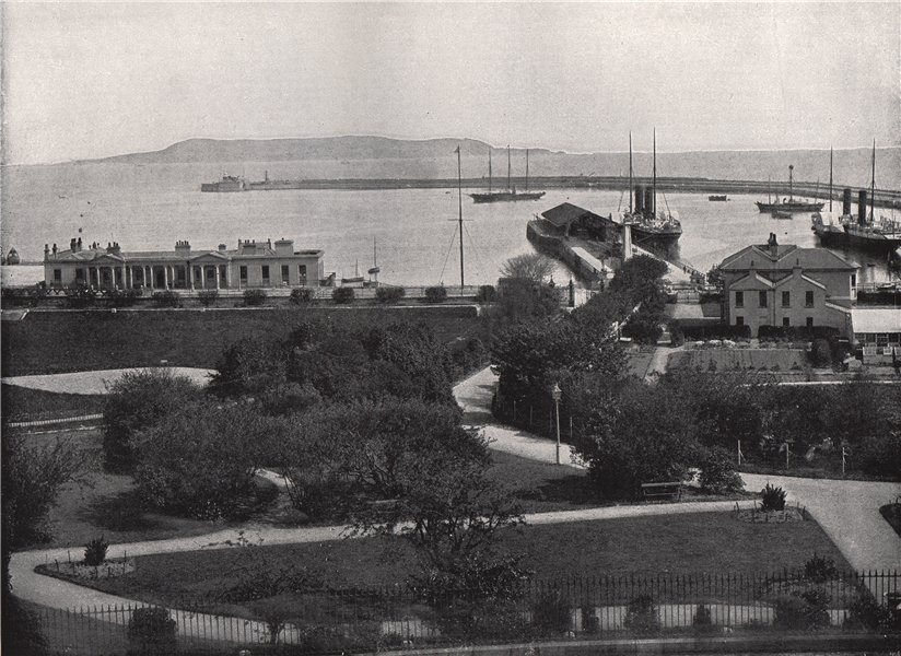 Associate Product KINGSTOWN (DUN LAOGHAIRE) . General view of the harbour. Ireland 1895 print