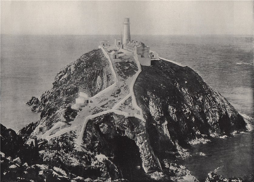 Associate Product HOLYHEAD. The South Stack Lighthouse. Wales 1895 old antique print picture