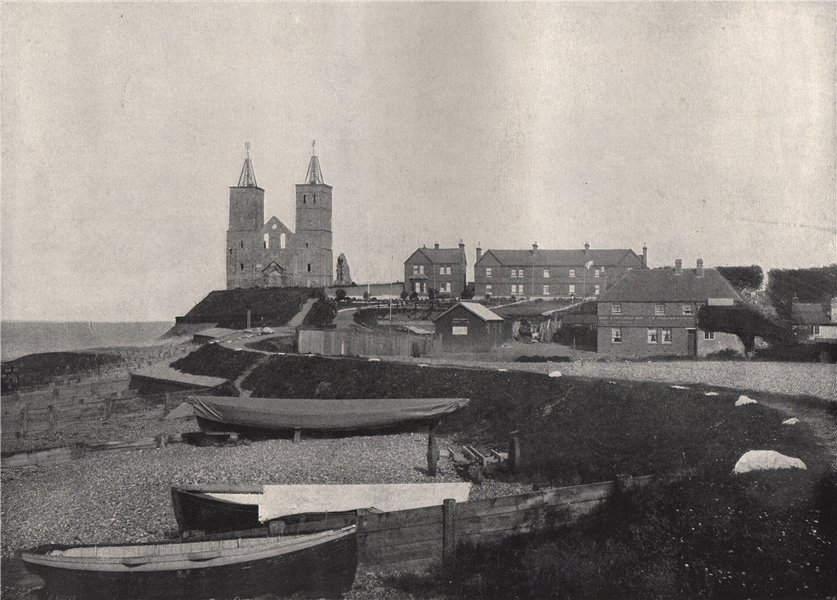 Associate Product RECULVER. The village and the Reculver towers. Kent 1895 old antique print