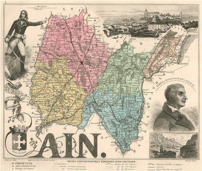 Associate Product AIN. Département. Bourg-en-Bresse. Joubert. Bichat. VUILLEMIN 1879 old map