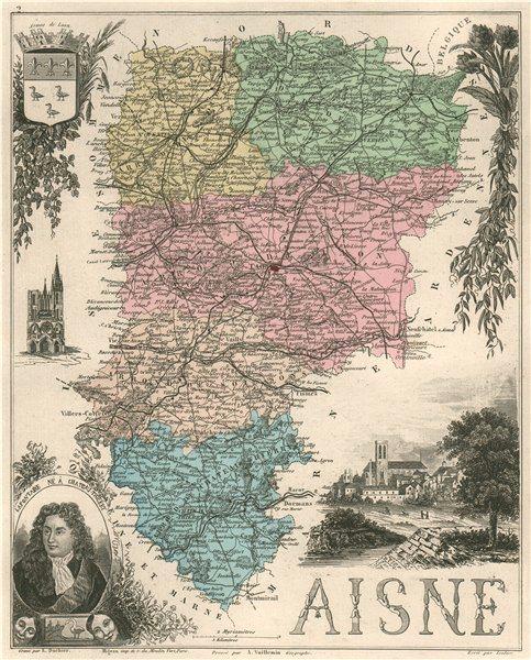 Associate Product AISNE. Département. Laon. Lafontaine. VUILLEMIN 1879 old antique map chart