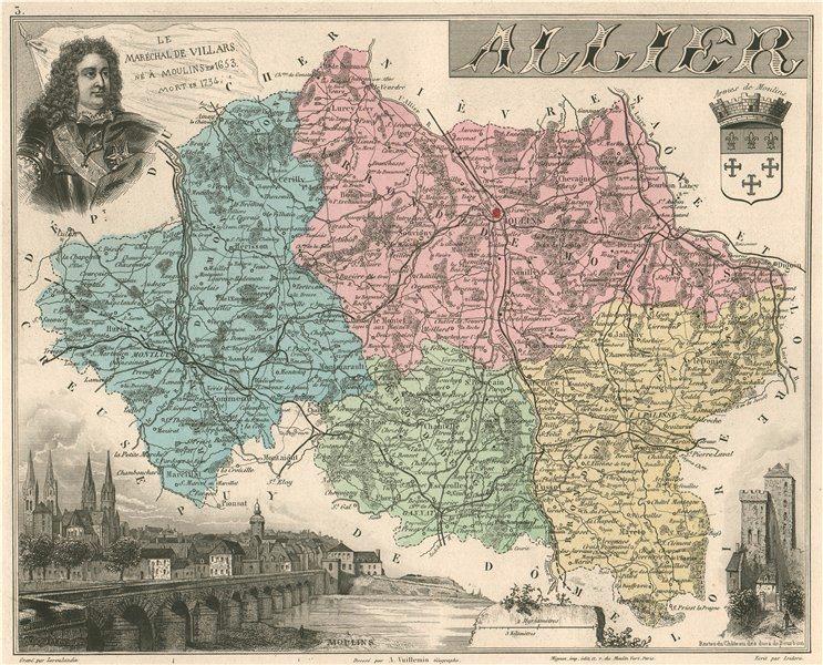 Associate Product ALLIER. Département. Moulins. Marechal de Villars. VUILLEMIN 1879 old map