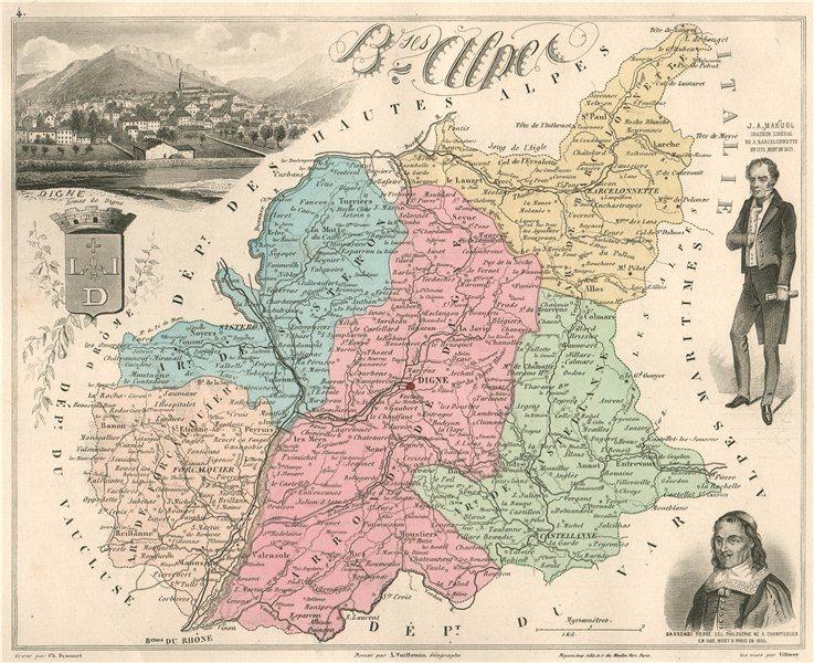 Associate Product ALPES-DE-HAUTE-PROVENCE 'Basses-Alpes' Digne Manuel Gassendi.VUILLEMIN 1879 map